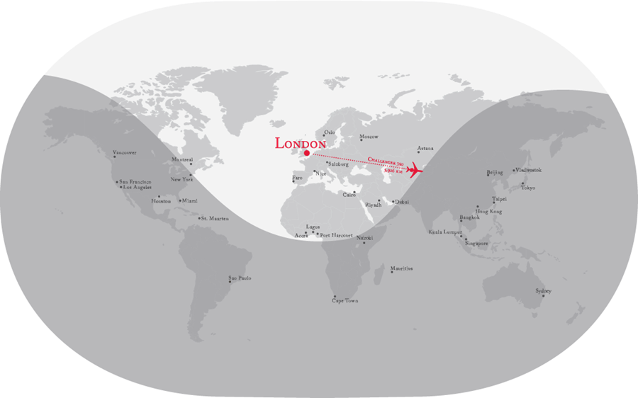 VistaJet Bombardier Challenger 350 private jet range map from London