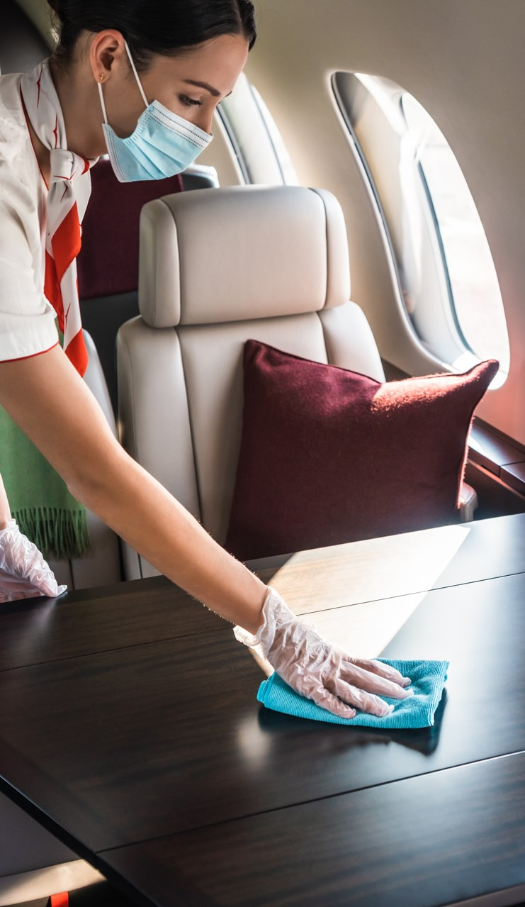 VistaJet Sanitising the Cabin
